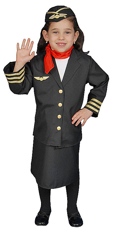 Girls Flight Attendant Costume Community Helpers