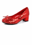 Girl's Red Sequined Shoes With 1-Inch Heels