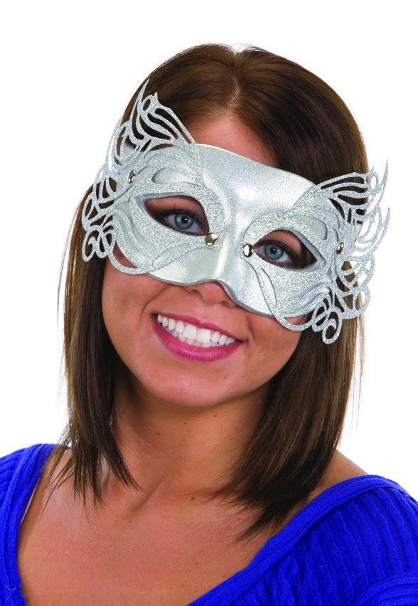 Gold Or Silver Glitter Filigree Mask Candy Apple Costumes Mardi Gras Costumes