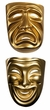 Gold Plastic Comedy or Tragedy Mask