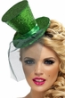 Green Glitter Mini Top Hat on Headband