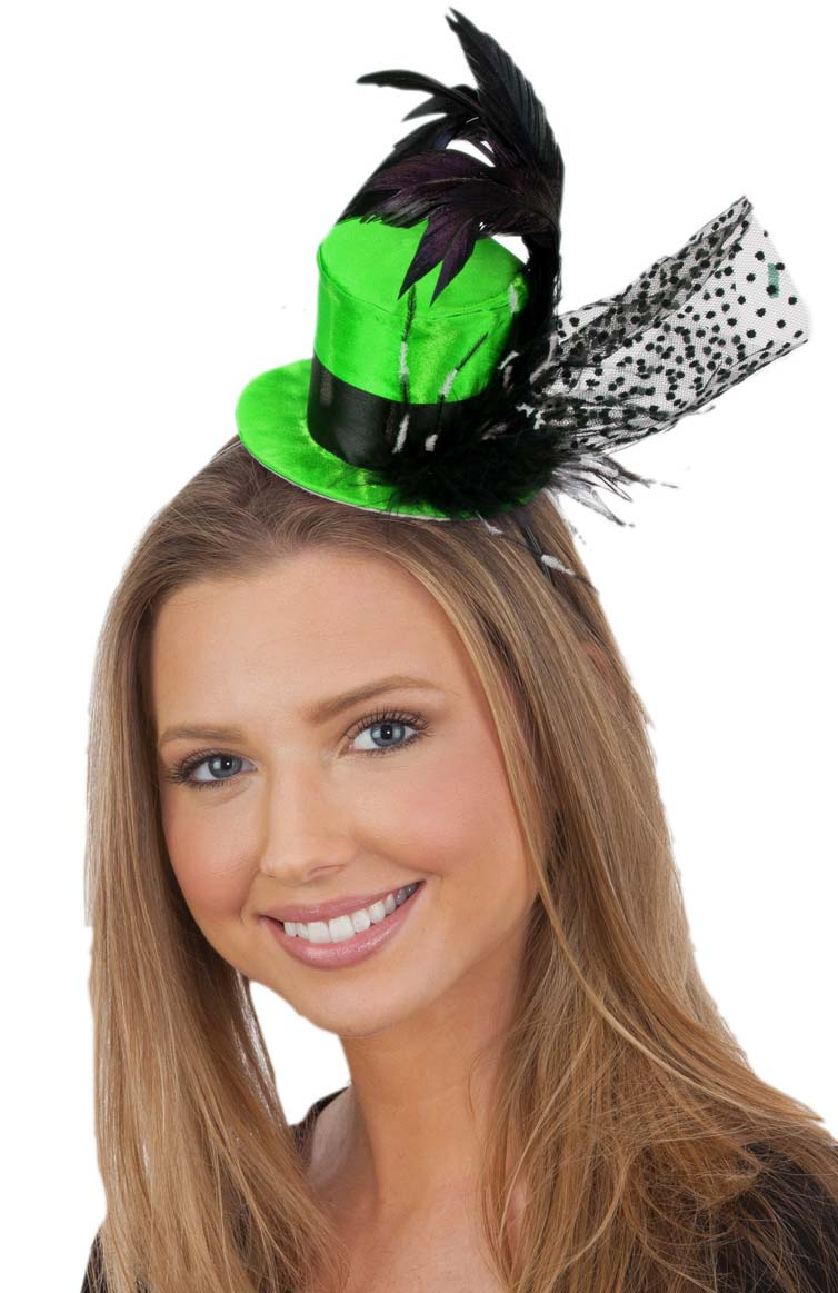 Deluxe Victorian Gothic Feather Top Hat with Net