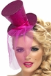 Hot Pink Glitter Mini Top Hat on Headband