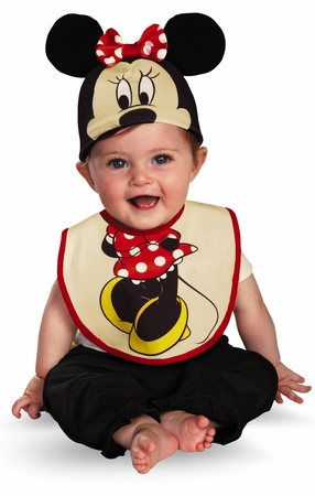 Infant Minnie Mouse Bib  Hat Set