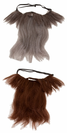 Long Crimped Beard and Mustache - Gray or Brown - Candy ...