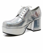 "Men's 3"" Heel Platform Silver Hologram Disco Shoes"