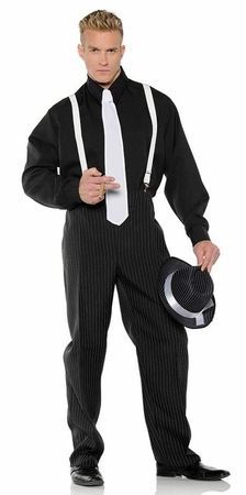 Men's Black/White Gangster Costume