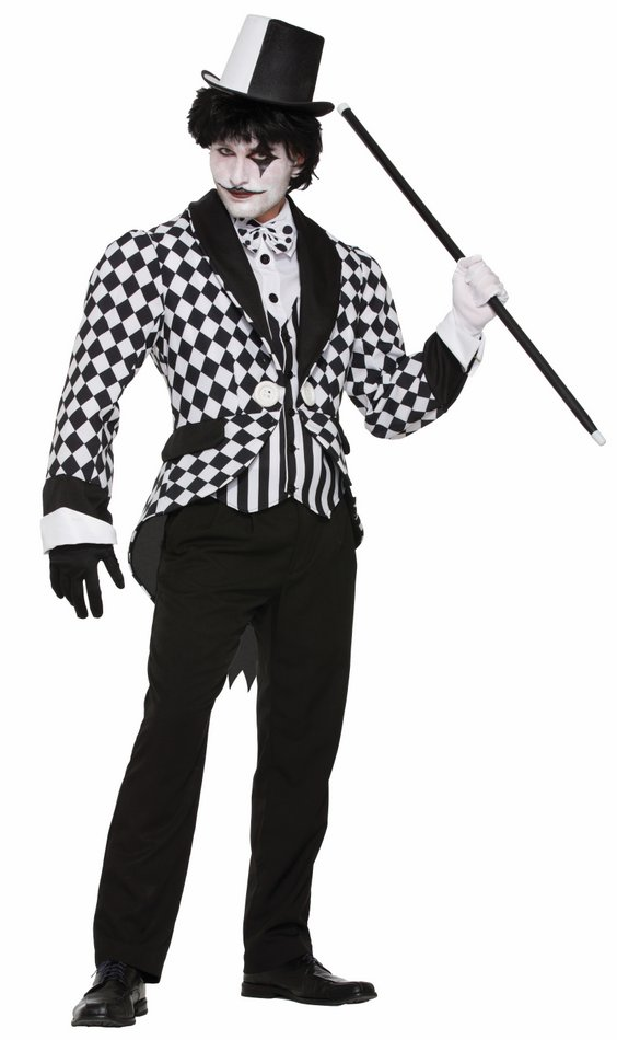 Menu0027s Black/White Harlequin Tailcoat Costume  sc 1 st  Candy Apple Costumes : male jester costume  - Germanpascual.Com