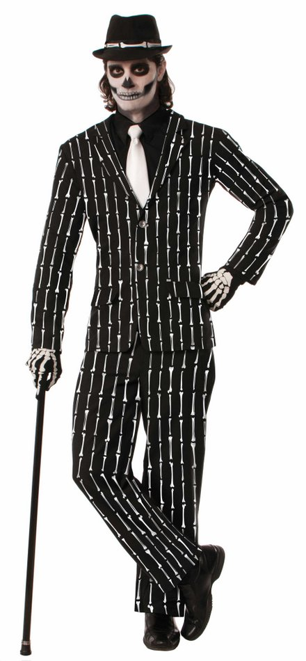 Skeleton Bones Pinstripe Suit - Candy Apple Costumes