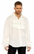 Men's White Ruffle Front Shirt