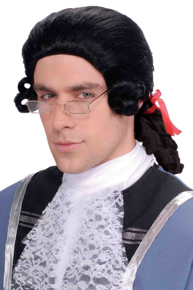 mens black colonial wig 18th century costumes adult