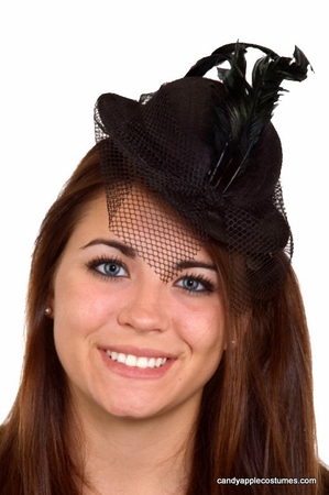 Mini Felt Derby Hat With Veil - More Colors