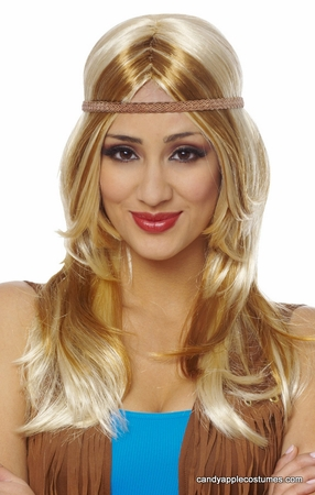 Mixed Blonde Hippie Chick Wig