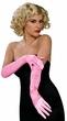 Pink Ruched Satin Elbow Length Gloves
