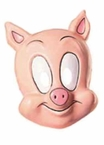 Plastic Cartoon Pig Mask - Adult or Child