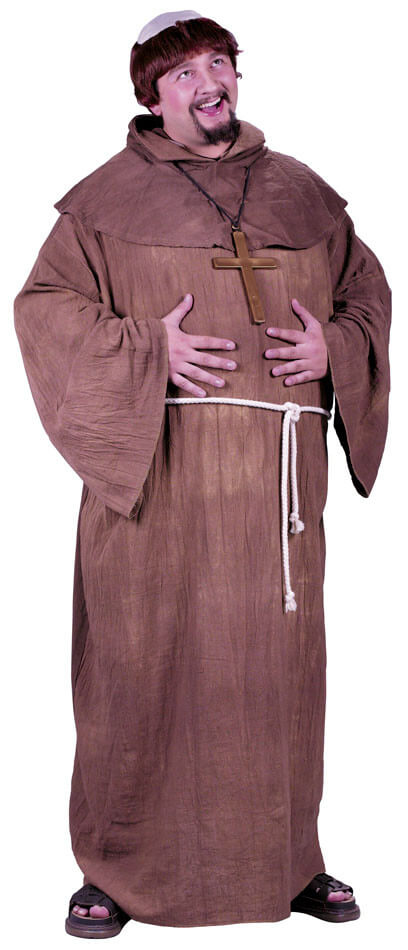 60489257d7c8f Plus Size Adult Medieval Monk Costume With Wig - 3X and 4X ...