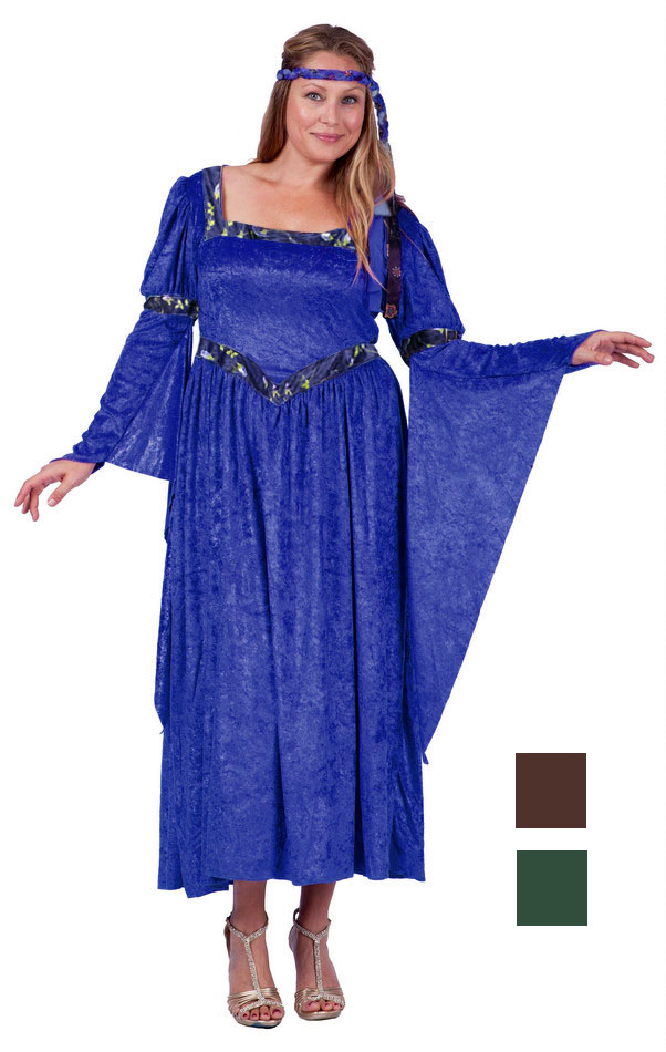 Plus Size Adult Renaissance Queen Costume Blue Or Green Candy