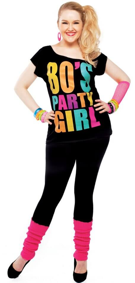 adult black 80's party girl tee - candy apple costumes - 80's costumes