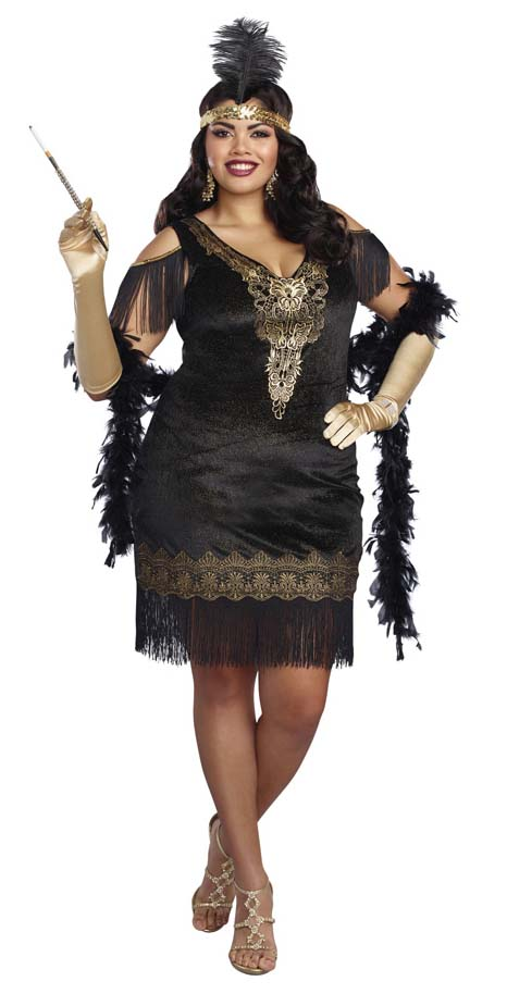 f1a37c5ebca12 Plus Size Black Gold Swanky Flapper Costume - Candy Apple ...
