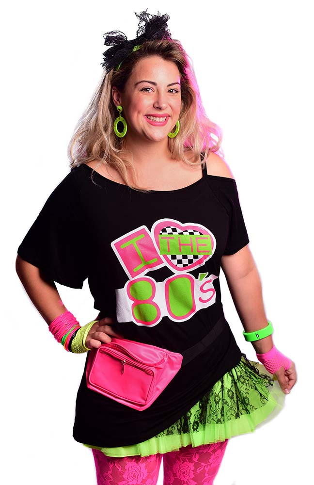 ba66c5fd274 Plus Size Black I Love the 80 s Shoulder Strap Tee - Candy Apple ...