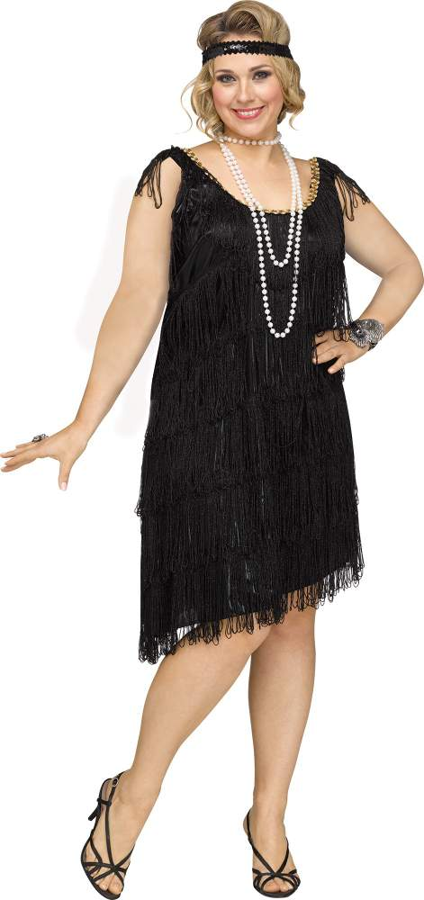 Plus Size Black Shimmery Flapper Costume - Candy Apple Costumes ...