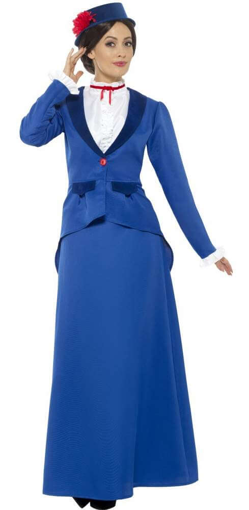 Adult Blue Victorian Nanny Costume - Candy Apple Costumes - Deluxe ...