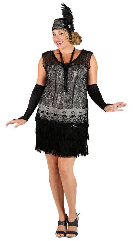 Plus Size Black Lace Adult Flapper Dress