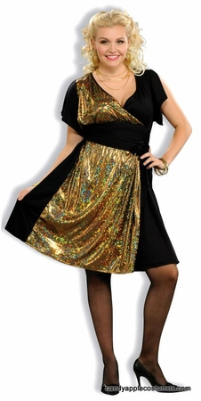Plus Size Disco Gold Sexy 70's Costume