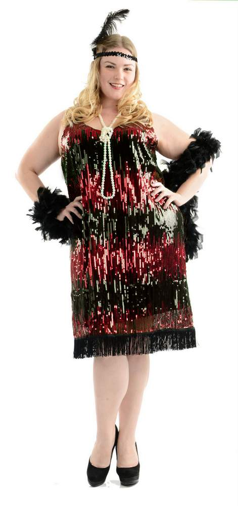 Plus Size Red Sequin Flapper Dress Candy Apple Costumes 3x And