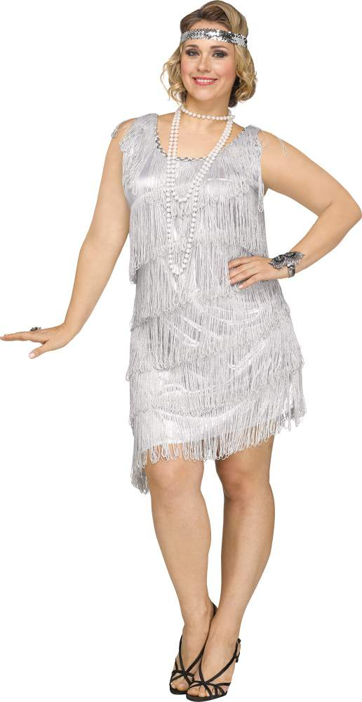 Plus Size Silver Shimmery Flapper Costume Candy Apple Costumes