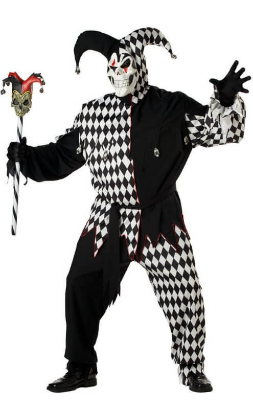 5ddef240ee66 Plus Size White Black Evil Jester Costume - Candy Apple Costumes ...