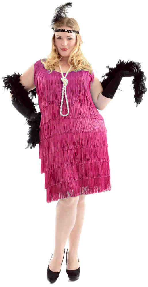 Fuchsia Flapper Costume (Plus Size) - Candy Apple Costumes