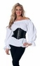 Plus Size Women's Long Sleeve White Renaissance Peasant Blouse