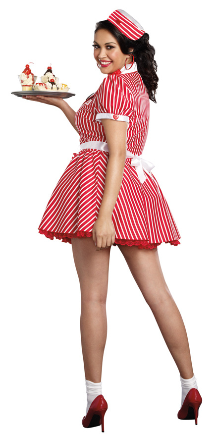 Womens Plus Size Diner Doll Costume 50s Retro Costumes Deluxe