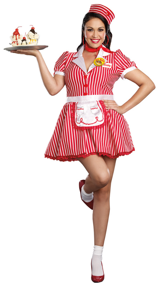 Womenu0026#39;s Plus Size Diner Doll Costume - 50u0026#39;s Retro Costumes - Browse All Womenu0026#39;s Costumes