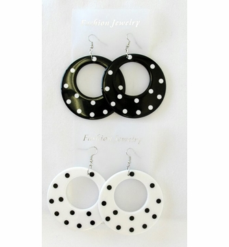Polka Dot Earrings Black And White Candy Le Costumes