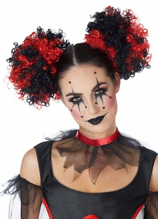 Red Black Curly Clown Puffs Wig Candy Apple Costumes