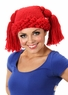 Red Crochet Rag Doll Beanie with Pigtails