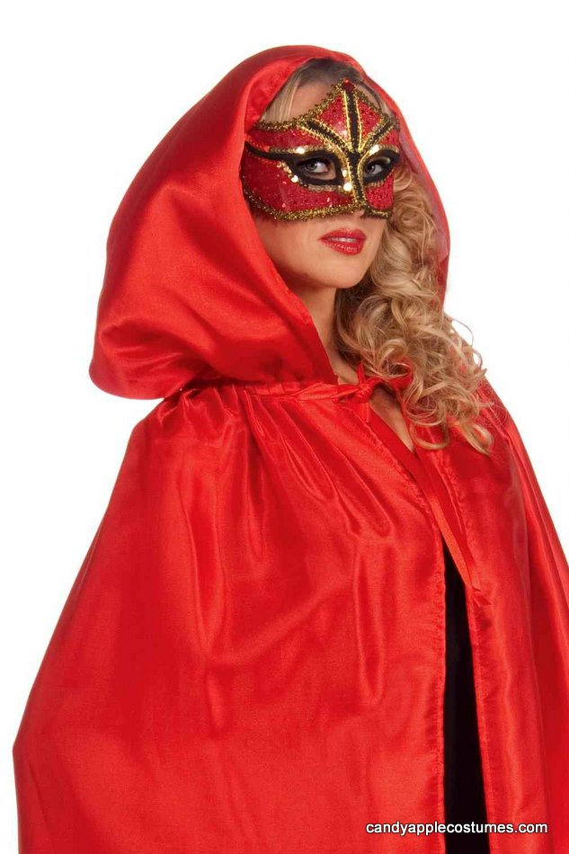 red fancy masquerade hooded cape candy apple costumes