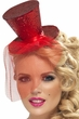 Red Glitter Mini Top Hat on Headband