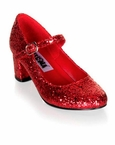 Red Glitter School Girl Mary Jane Shoes