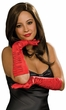 Red Ruched Satin Elbow Length Gloves