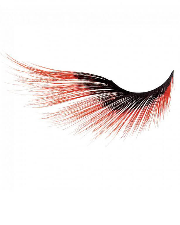 Red Tip Feathered Eyelashes Candy Apple Costumes