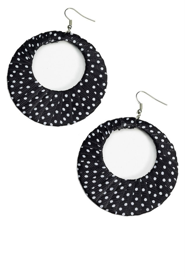 Retro Black White Polka Dot Ribbon Earrings Candy Le