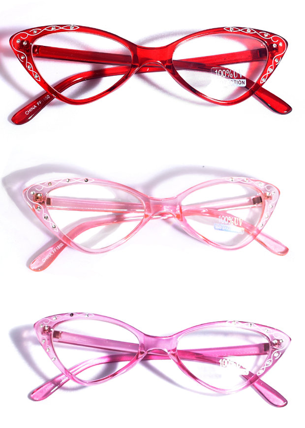 Retro Style 50's Twirl Cat Eye Glasses - Candy Apple ...