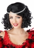 Ritzy Black Curly Flapper Wig and Headband