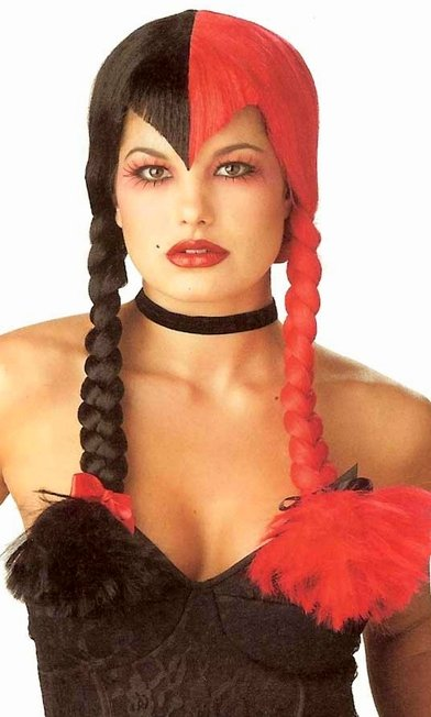 Two,Tone Black/Red Braids Wig , Candy Apple Costumes