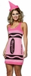 Adult Tickle Me Pink Crayola Crayon Costume, Size S/M