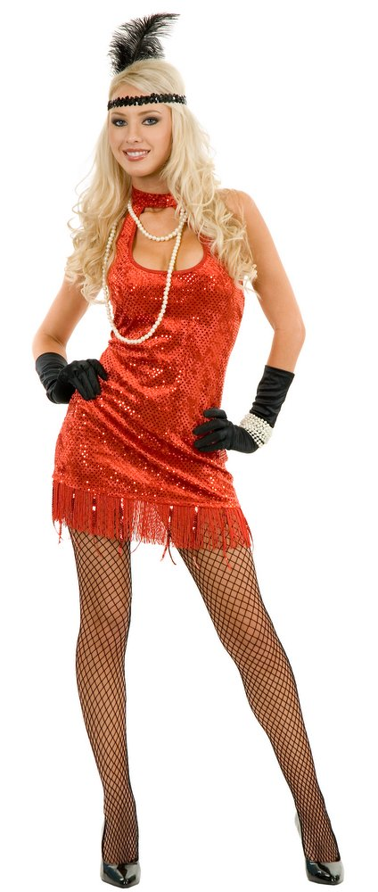 Sexy Red Sequined Velvet Flapper Costume