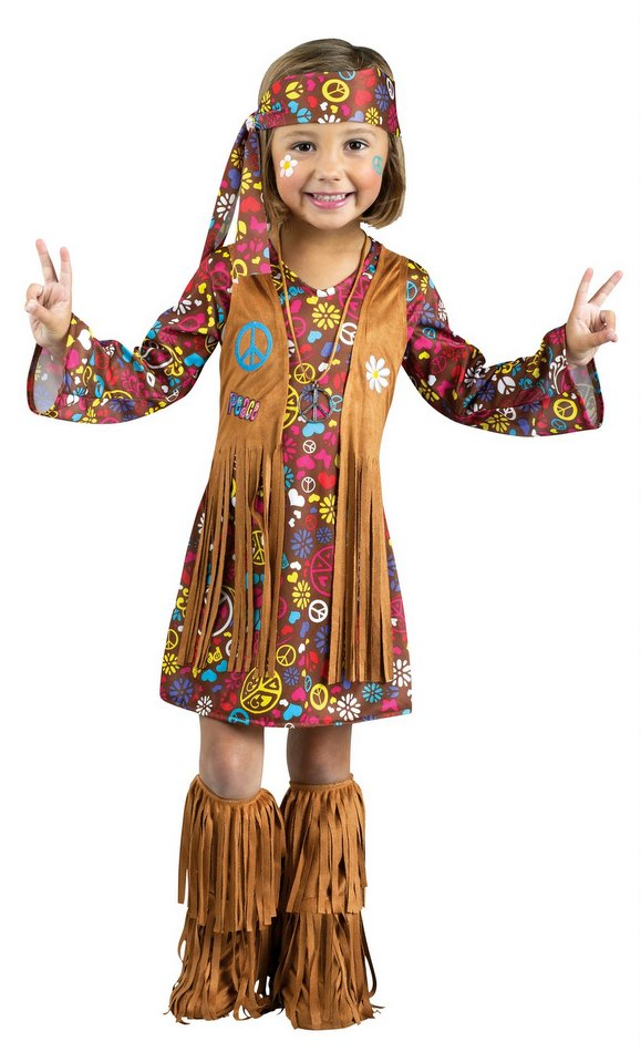 Funky Hippy Chick Ladies Fancy Dress 60/'s Costume Up to XXL